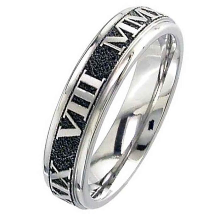 Flat Profile Titanium Wedding Ring Customised Roman Numerals Titanium Men