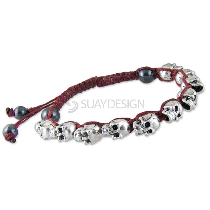 Women's Adjustable Red Cotton Friendship Bracelet with Skulls
