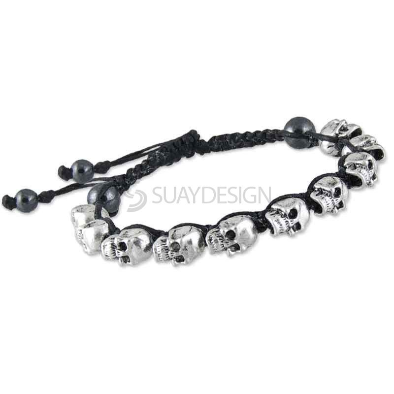 Adjustable Black Cotton Friendship Bracelet with Skulls