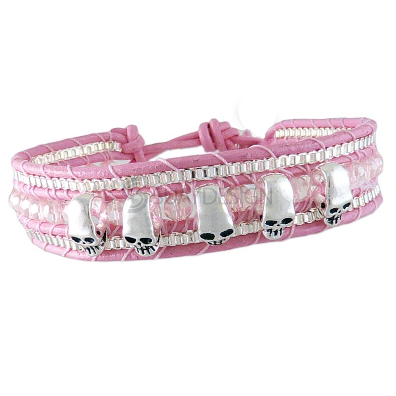 Women's Adjustable Baby Pink Leather Friendship Bracelet with Polished Skulls