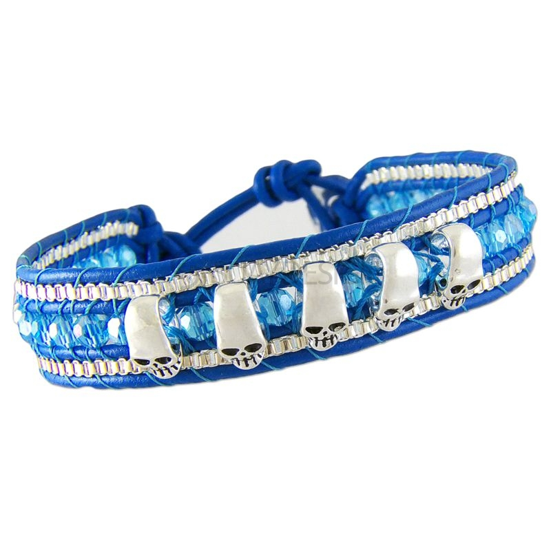 Women's Adjustable Blue Leather Friendship Bracelet with Polished Skulls