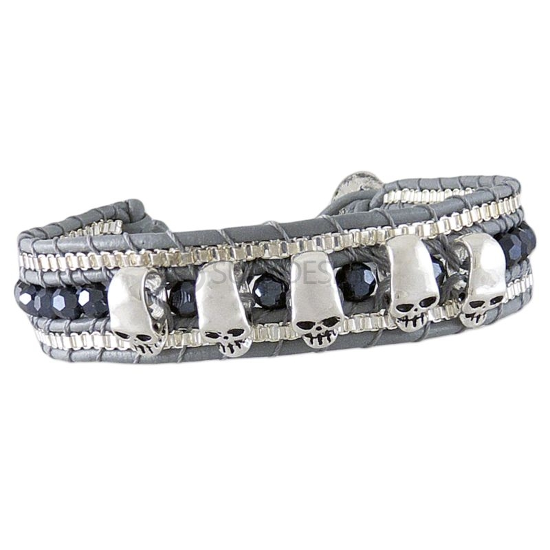 Women's Adjustable Grey Leather Friendship Bracelet with Polished Skulls