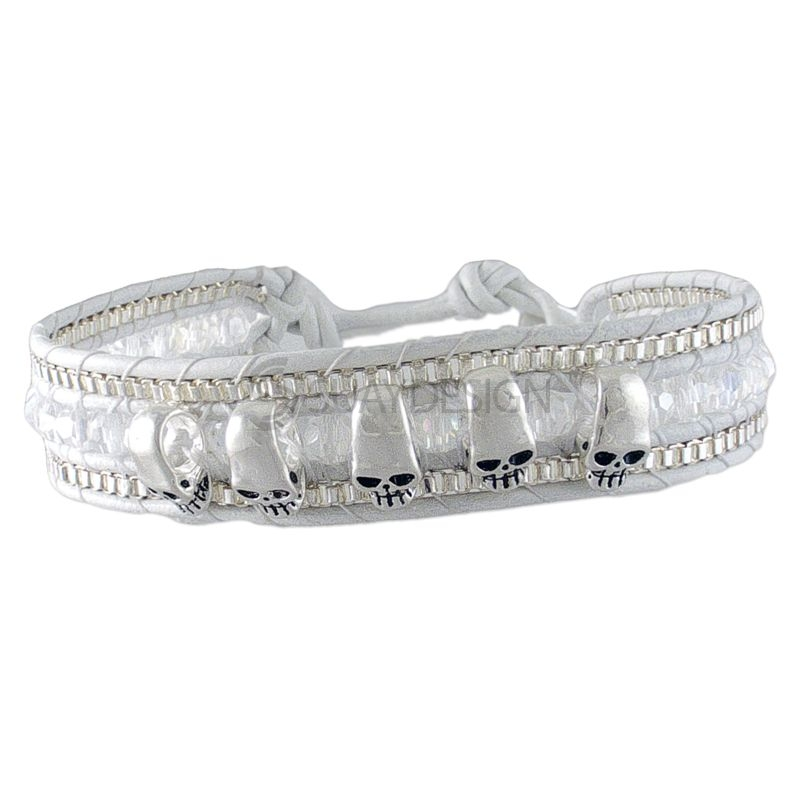 Women's Adjustable White Leather Friendship Bracelet with Polished Skulls