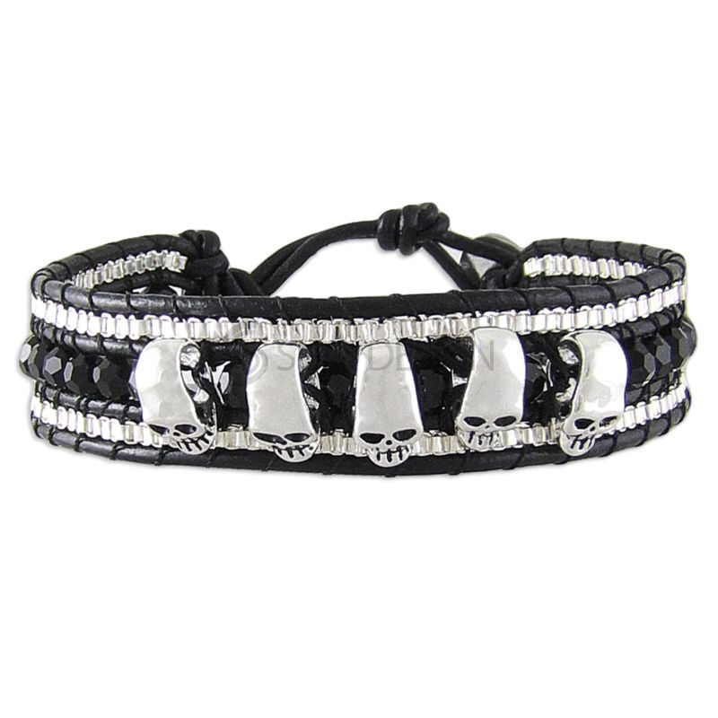 Women's Adjustable Black Leather Friendship Bracelet with Polished Skulls