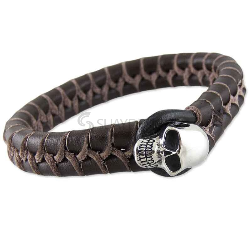 Chunky Brown Woven Leather Silver Skull Bracelet