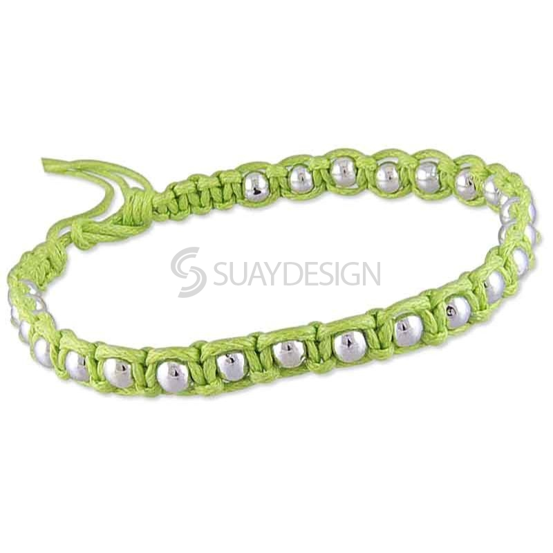 Women's Adjustable Lime Green Cotton Friendship Bracelet Style 1