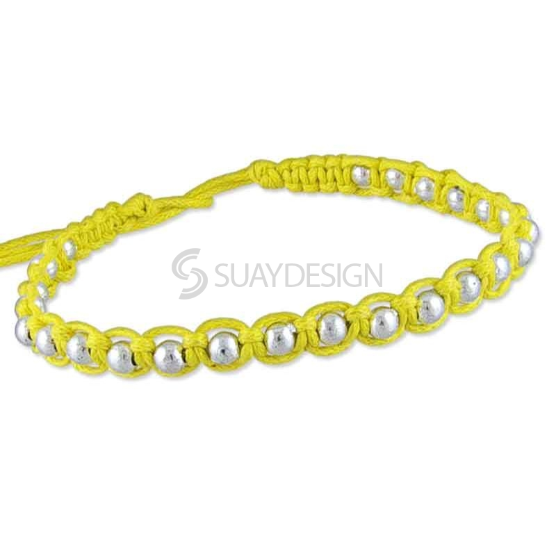 Women's Adjustable Yellow Cotton Friendship Bracelet Style 1