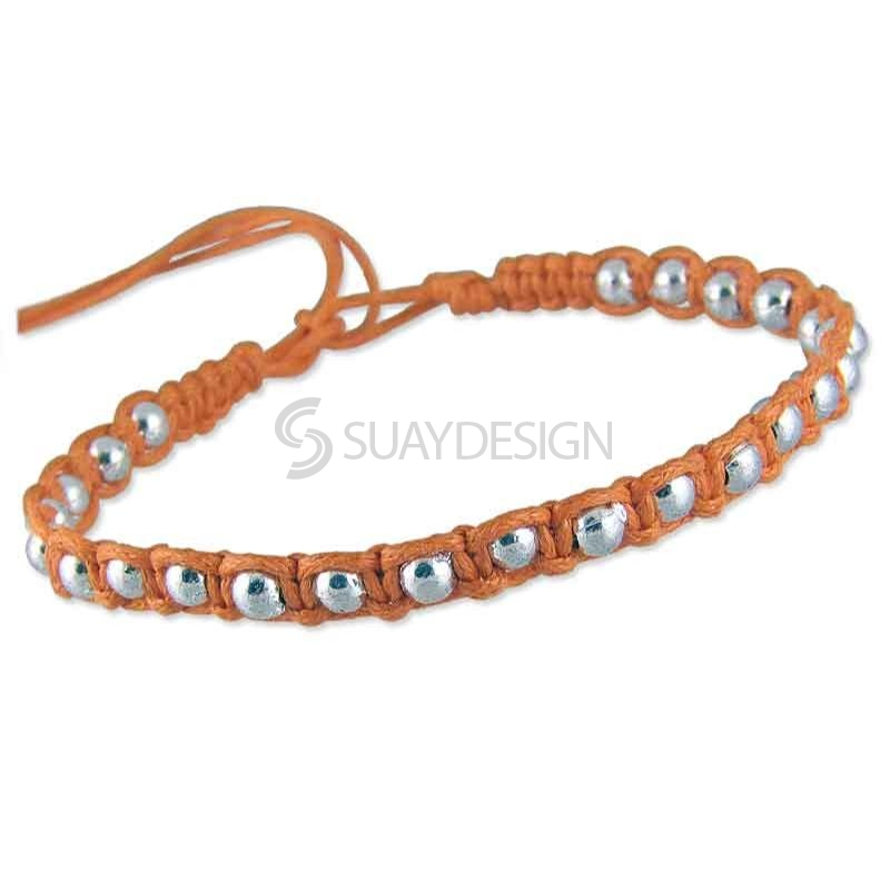 Women's Adjustable Orange Cotton Friendship Bracelet Style 1