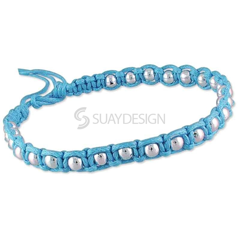 Women's Adjustable Sky Blue Cotton Friendship Bracelet Style 1