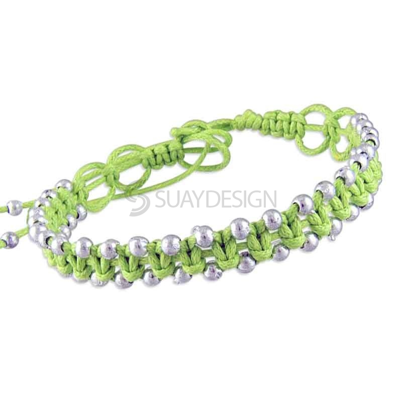 Women's Adjustable Lime Green Cotton Friendship Bracelet Style 2