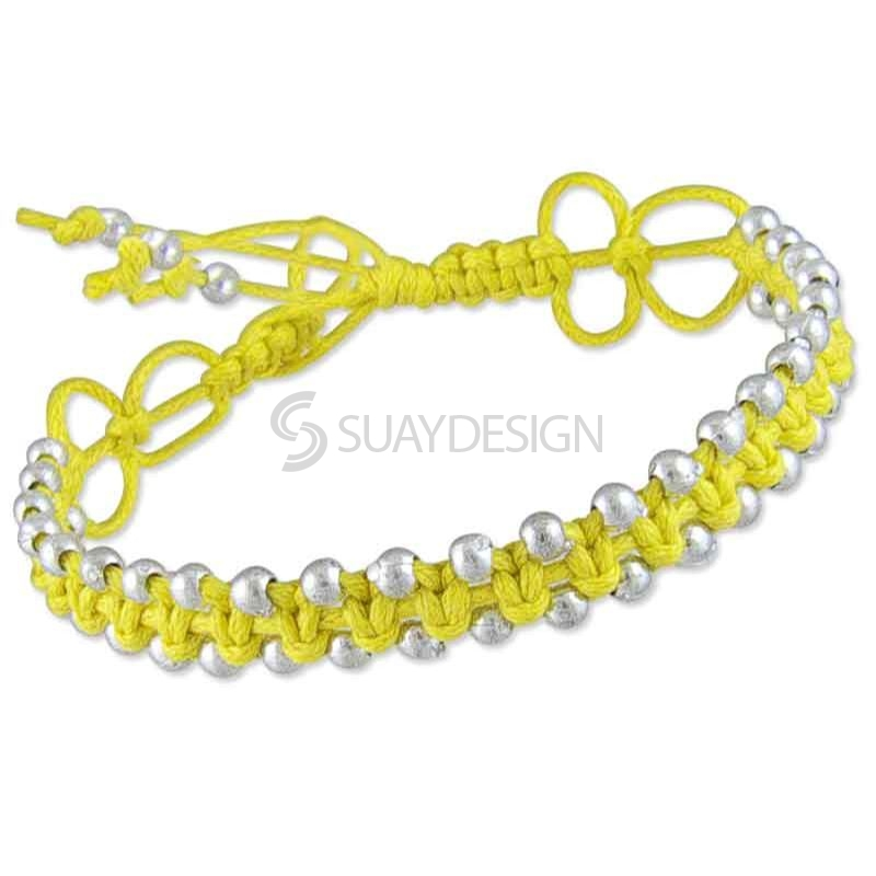 Women's Adjustable Yellow Cotton Friendship Bracelet Style 2