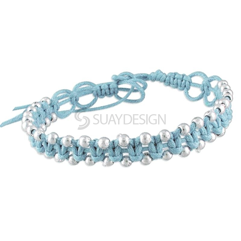 Women's Adjustable Sky Blue Cotton Friendship Bracelet Style 2