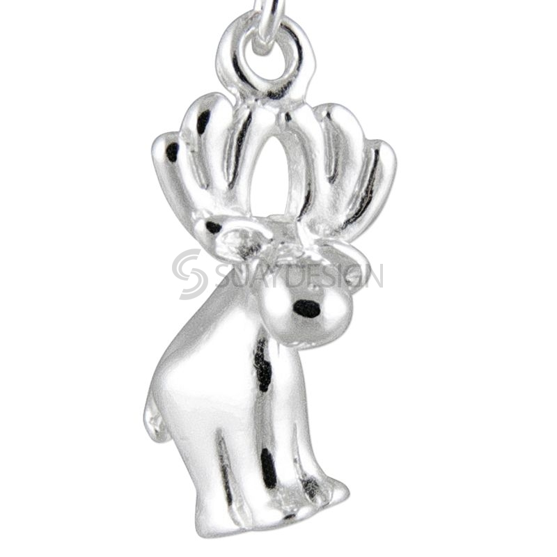 Women's Polished Silver Moose Charm