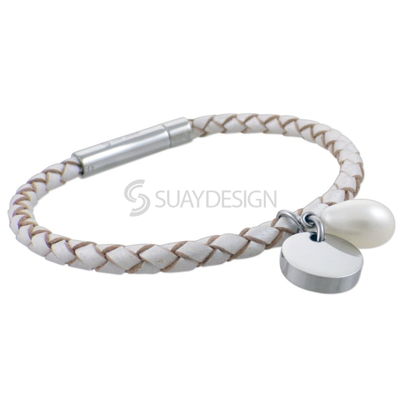 Women's Metallic White Slim Woven Leather Bracelet with Pearl Charms