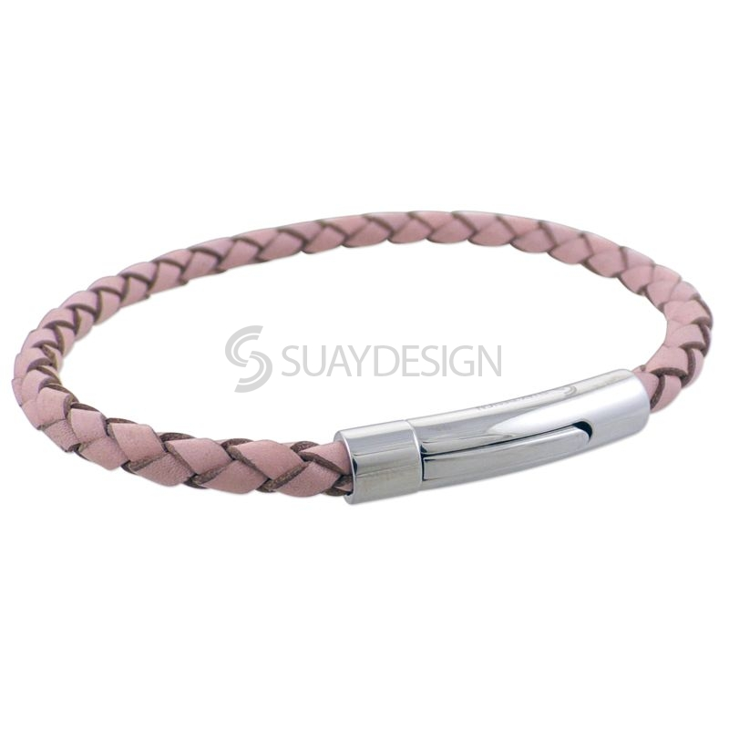 Women's Pink Slim Woven Leather Bracelet with Steel Clasp