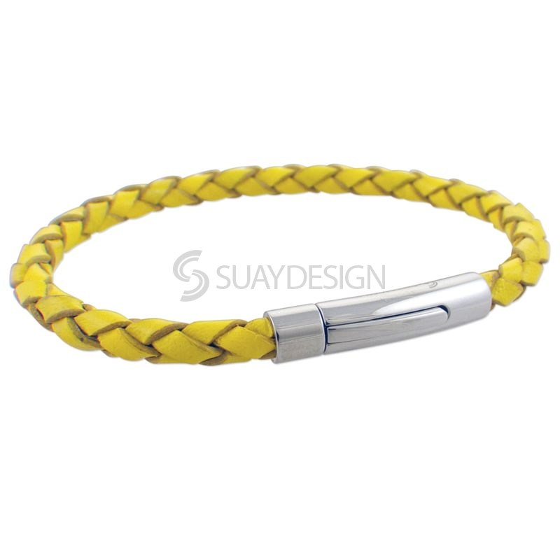 Women's Yellow Slim Woven Leather Bracelet with Steel Clasp