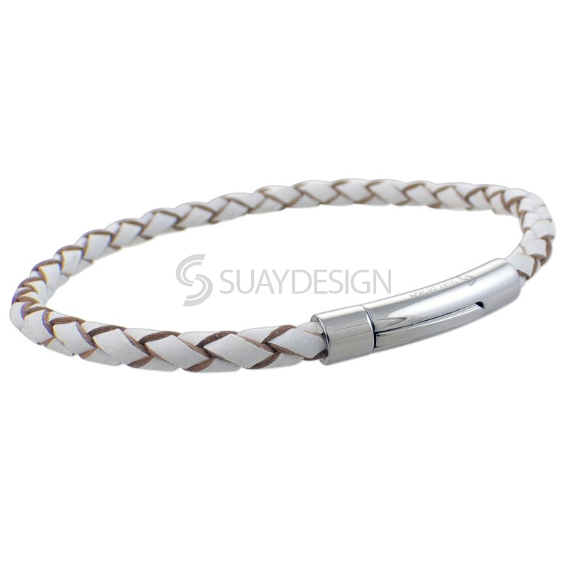 Women's White Slim Woven Leather Bracelet with Steel Clasp