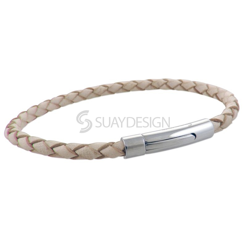 Natural Slim Woven Leather Bracelet with Steel Clasp