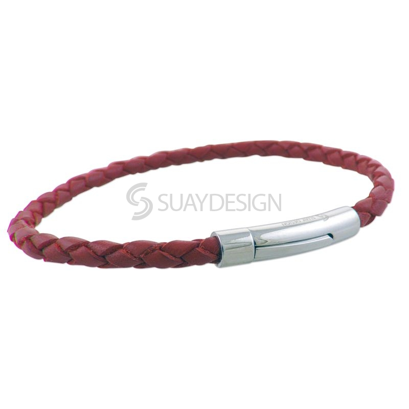 Women's Red Slim Woven Leather Bracelet with Steel Clasp