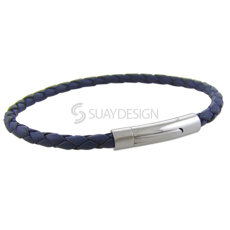 Blue Slim Woven Leather Bracelet with Steel Clasp