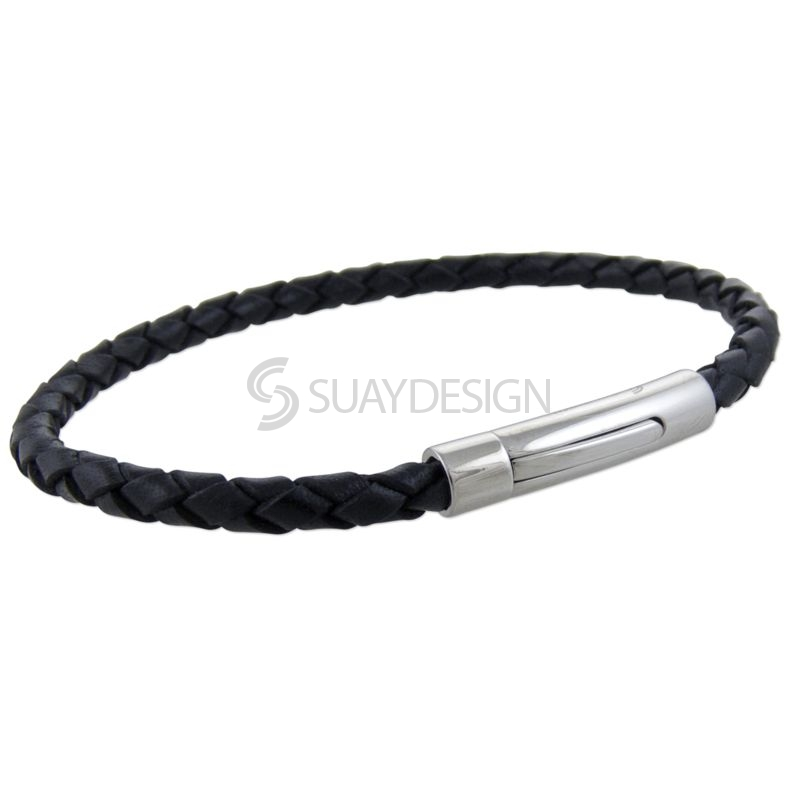 Black Slim Woven Leather Bracelet with Steel Clasp