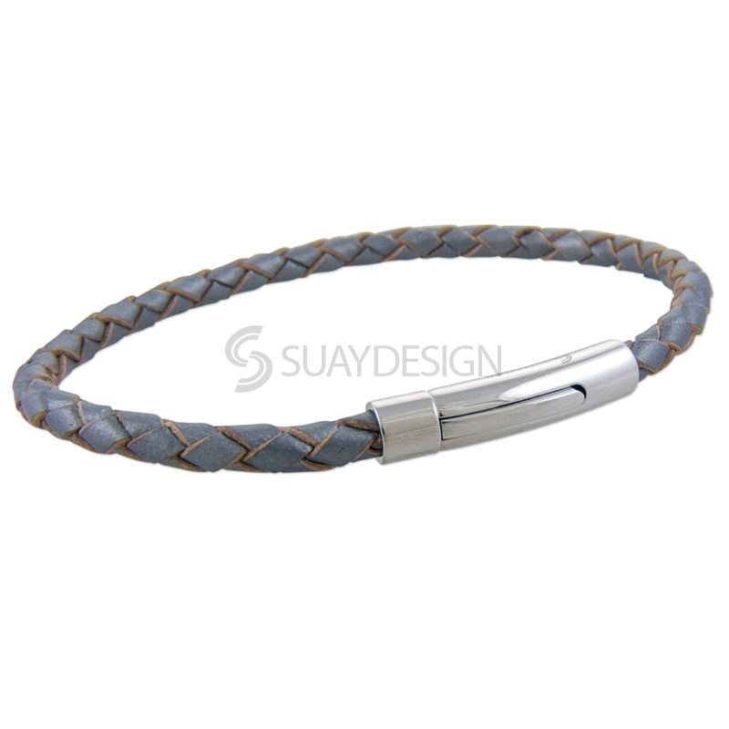 Silver Slim Woven Leather Bracelet with Steel Clasp