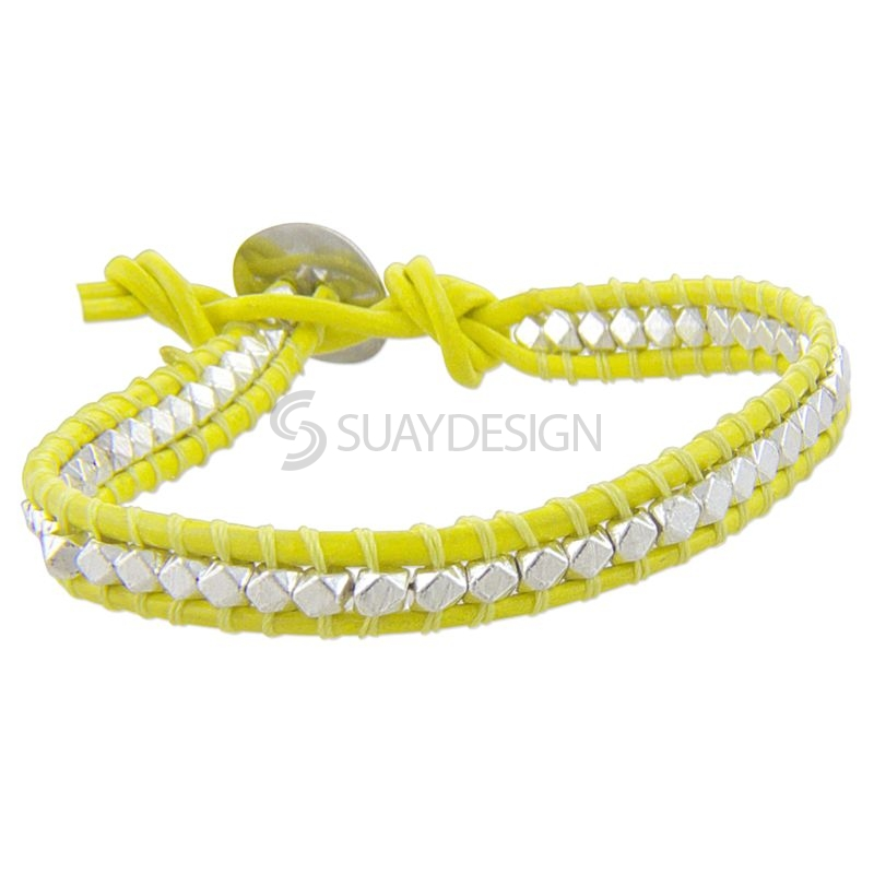 Women's Yellow Leather Adjustable Friendship Bracelet with Silver Beads