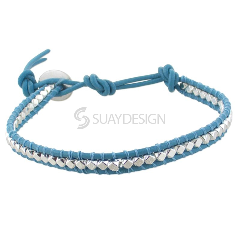 Women's Light Blue Leather Adjustable Friendship Bracelet with Silver Beads