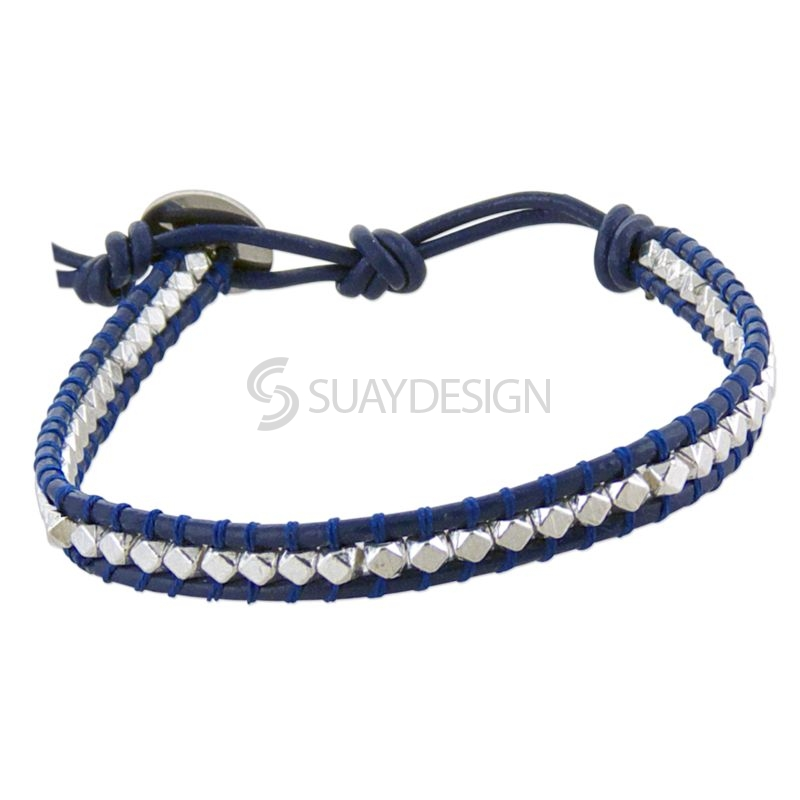 Women's Navy Blue Leather Adjustable Friendship Bracelet with Polished Silver Beads