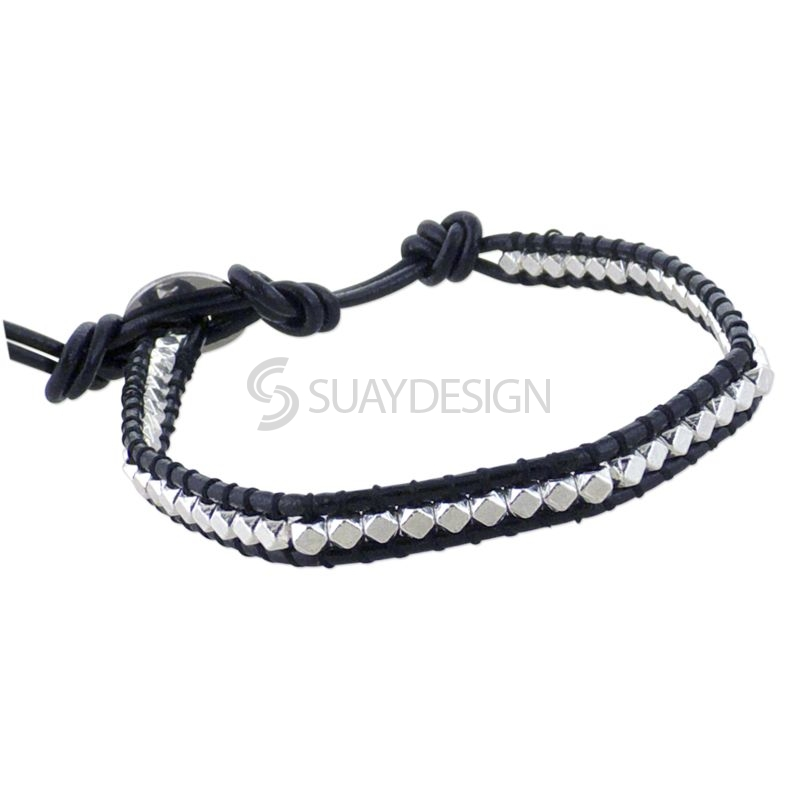 Women's Black Leather Adjustable Friendship Bracelet with Polished Silver Beads