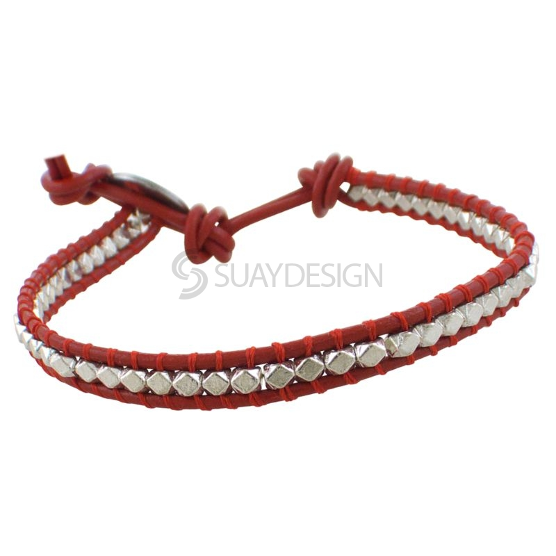Women's Red Leather Adjustable Friendship Bracelet with Polished Silver Beads