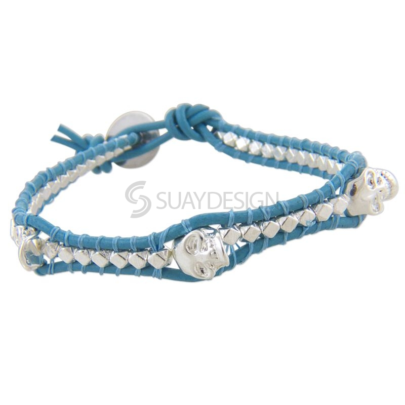 Women's Light Blue Leather Adjustable Bracelet with Skulls