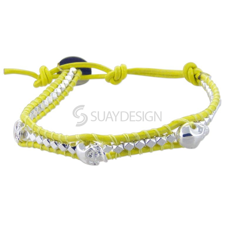 Yellow Leather Adjustable Bracelet with Skulls