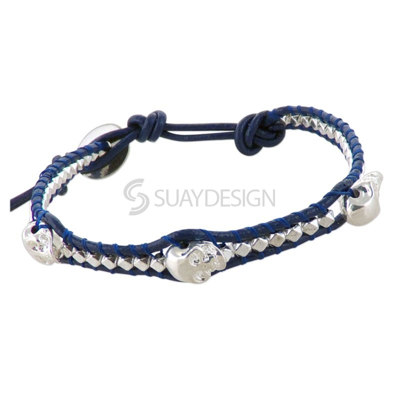 Women's Navy Blue Leather Adjustable Friendship Bracelet with Skulls