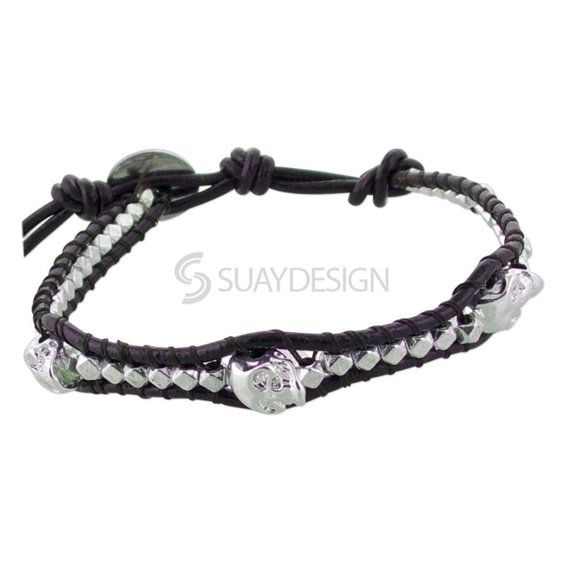 Women's Brown Leather Adjustable Friendship Bracelet with Skulls