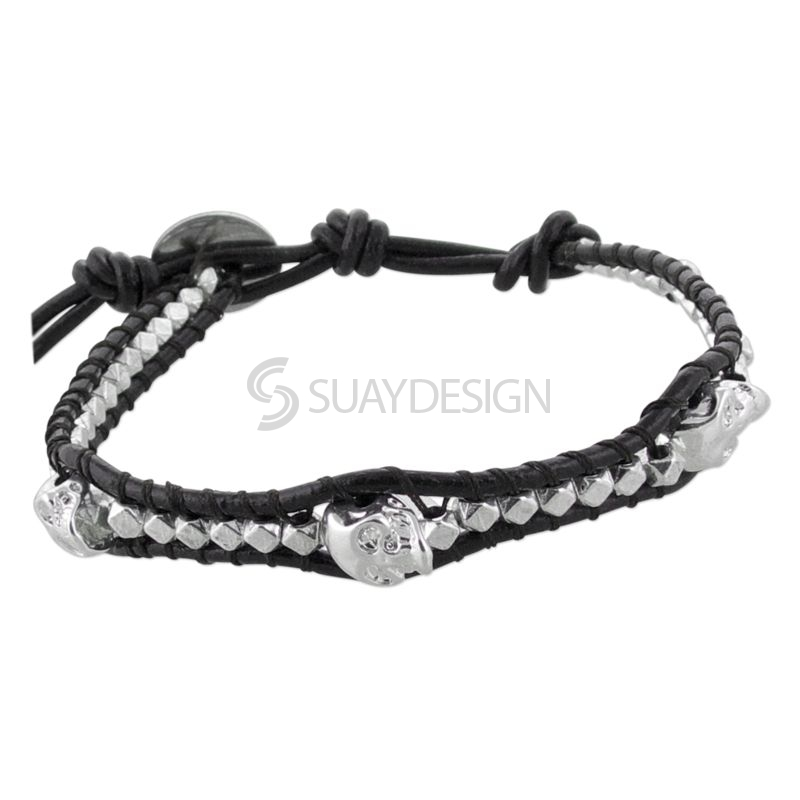 Women's Black Leather Adjustable Friendship Bracelet with Skulls