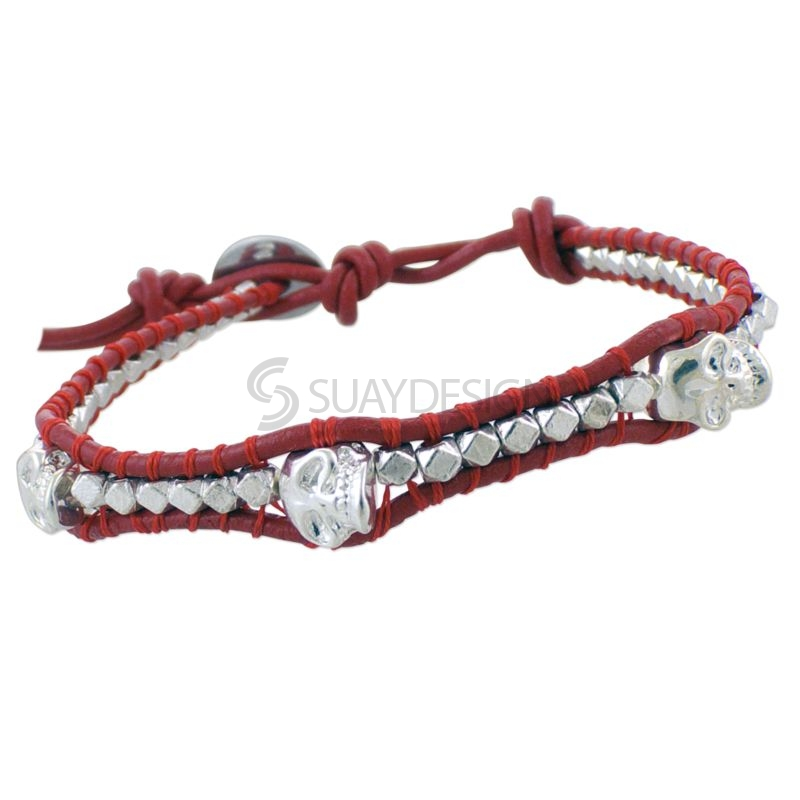Women's Red Leather Adjustable Friendship Bracelet with Skulls