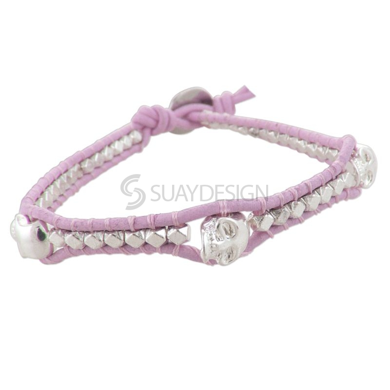 Women's Pink Leather Adjustable Friendship Bracelet with Skulls