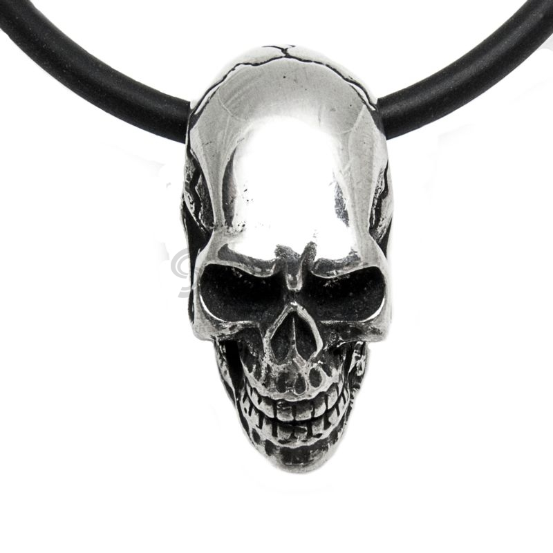 Polished Pewter Elongated Cracked Skull Pendant