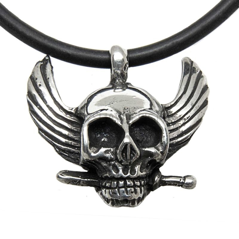 Polished Pewter Skull Pendant