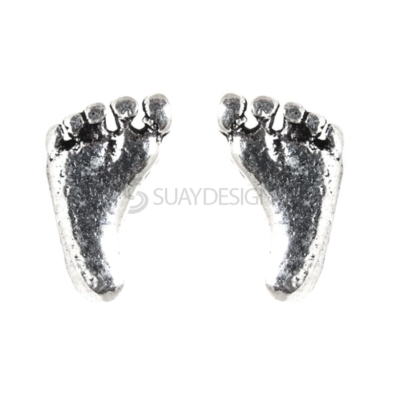 Women's Polished Silver Feet Earrings