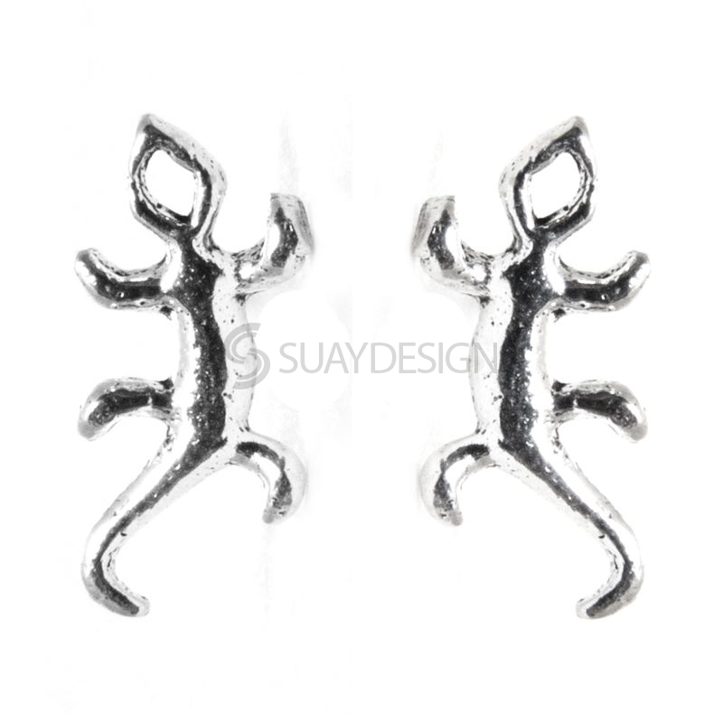 Polished Silver Lizard Stud Earrings