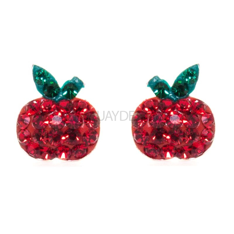 Women's Silver Apple Earrings with Cubic Zirconia Crystals