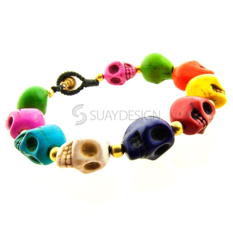 Women's Mixed Colour Skull Friendship Bracelet