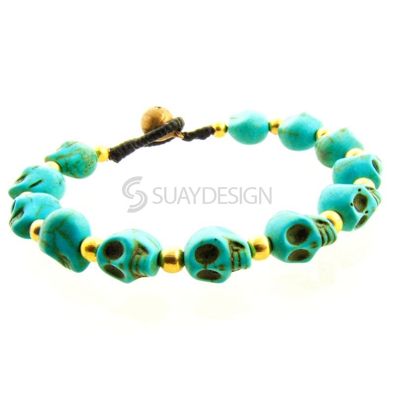 Women's Turquoise Skull Friendship Bracelet