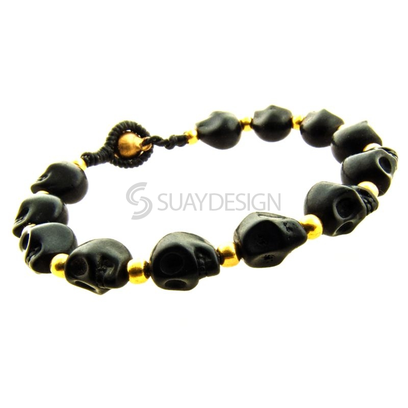 Women's Black Skull Friendship Bracelet