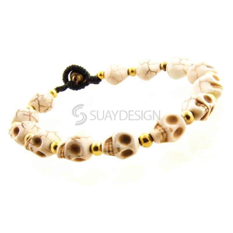 Women's White Skull Friendship Bracelet