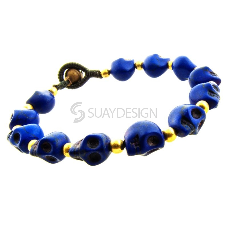 Women's Dark Blue Skull Friendship Bracelet