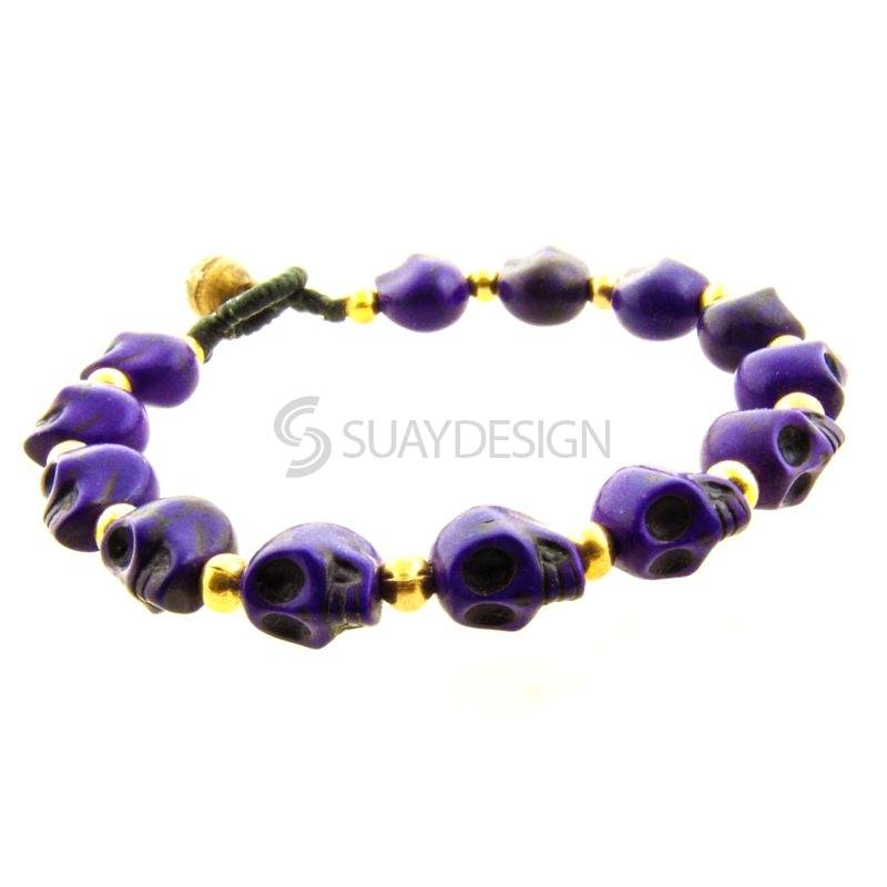 Women's Purple Skull Friendship Bracelet