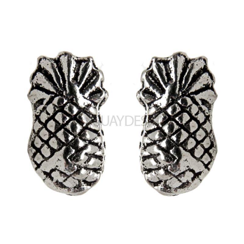Polished Silver Pineapple Stud Earrings